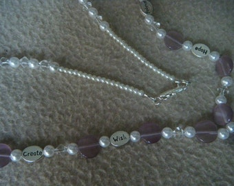 Inspirational Lavender and Pearls Necklace s