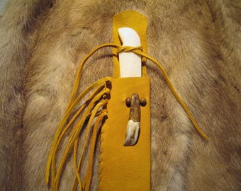 Gold Leather Sheath and Bone Knife for Child