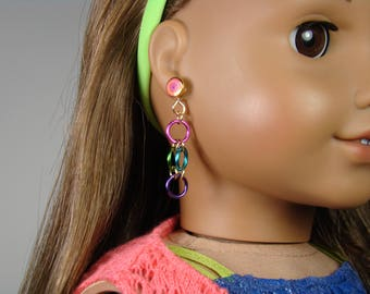 """Multicolor Chainmaille Earring Dangles for 18"""" Play Dolls such as American Girl®"""