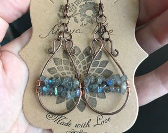 Copper earrings with labradorite .