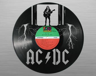 AC DC - carved vinyl record art for special occasions: Birthday, Christmas, Weeding, Holiday