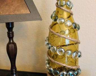 Recycled Wine Bottle with Spiraled Clear Stones with Fairy Lights inside