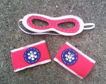 Girl Superhero Mask and Cuffs-Christmas Gift-Customize- Superhero Dress Up Party
