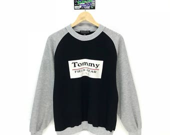 Rare!!! Vintage Tommy Sweatshirt Tommy Field Gear USA Big Logo Spell Out Pullover Jumper Sweater Crew Neck Size M