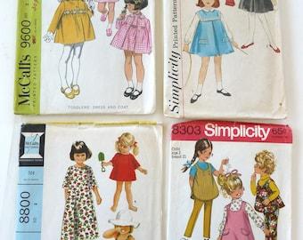 Girls size 2 toddler lot 4 vintqge sewing patterns beach dresscoat play