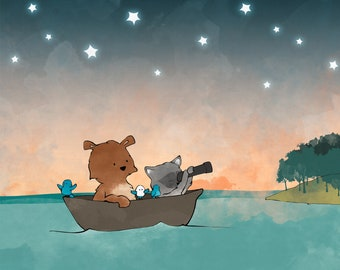 Bear and Racoon Nursery Art Print - Forest Animals on a Boat Stargazing