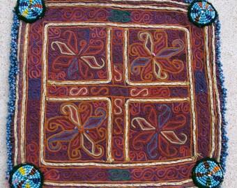 Vintage Embroidered Doily, Afghanistan: Zazi Silk, Item 135