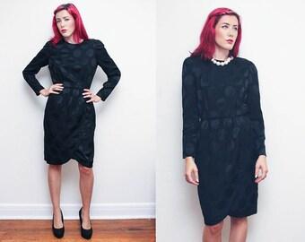 Vintage 80s POLKA DOT dress // Liz Claiborne black on black dots dress // size 8 silky fitted high waist formal dress