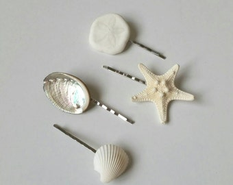 Shell Hair Accessories, Starfish Hair Accessories, Shell Hair Clips - 4 PC Mermaid Hair Pins