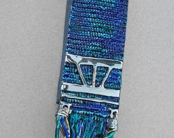 Tallit Mezuzah in Blues and Greens (Bronze) by Ruth Shapiro