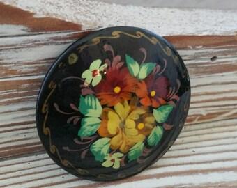 Vintage painted flower brooch round brooch enamel flower pin NZ1793