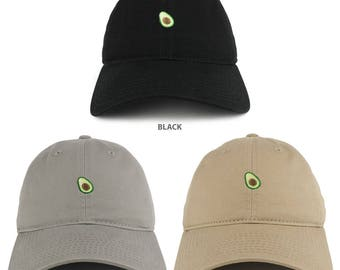 Small Avocado Embroidered Washed Cotton Soft Crown Dad Hat - Available in 3 Colors! (C03-AVOCADO)