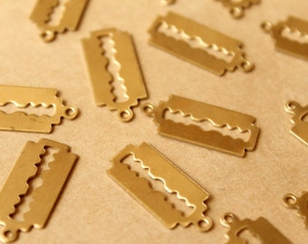 10 pc. Raw Brass Double-Edged Razor Blade Charms: 24mm by 10.5mm - made in USA | RB-766