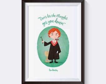Cute Ron Weasley Digital Print
