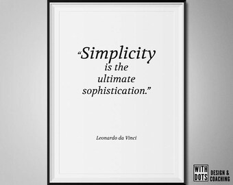"Leonardo da Vinci Inspirational Quote Printable Poster ""Simplicity is the Ultimate Sophistication"""