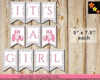 "Banner for Baby Shower, Girl, Pink Elephants, Gray Chevron, 5"" x 7.5"" each, Instant Download, Printable, DIY, It's A Girl"