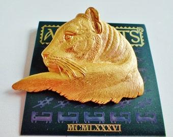 JJ Jonette Stunning Majestic Goldtone Lioness Brooch Pin