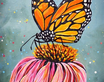 Monarch Butterfly Acrylic Painting