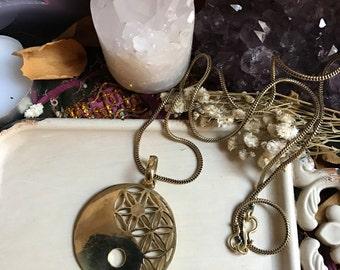 Röötz -Ying Yang Brass Pendant  Necklace Sacred Geometry Feng shui necklace  Gypsy jewellery boho jewellery sacred pendant Flower of Life