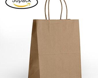 "8""x4.75""x10"" - 50 Pcs - Brown Kraft Paper Bags, Shopping, Merchandise, Party, Gift Bags - 50 Bags"