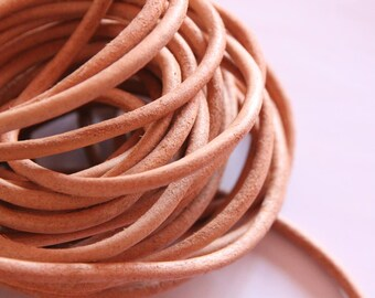 Genuine leather, natural, 5 mm, 1 m cord