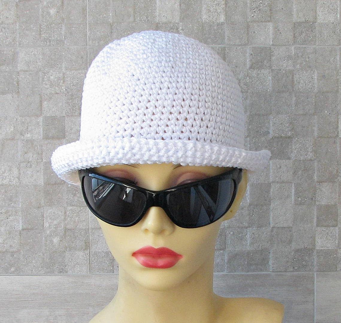 Weiße Baumwolle Cloche Sonne Hut häkeln Chemo sommerhut für