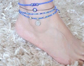 Tree of Life anklet, blue anklet, foot bracelet, beach,summer jewelry,Bohemian,Gift, star, Double Wrap, FREE shipping