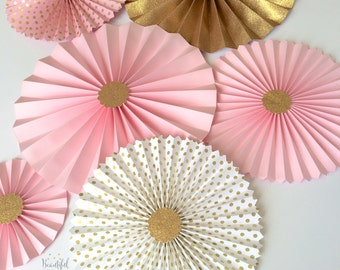 Pink and Gold Glitter | Paper Fan Backdrop | Pink and Gold Birthday | Gold Paper Fans  | Candy Buffet Decor | Pink and Gold Paper Rosettes