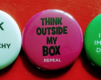 Three pack of EXTRA LARGE Pro Repeal badges.