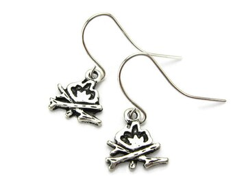 BONFIRE Earrings, 925 Silver French Hooks, Campfire, Backyard Firepit, Outdoor Fireplace, 3D Summer Jewelry, Gift Under 15, 3 Petunia Place