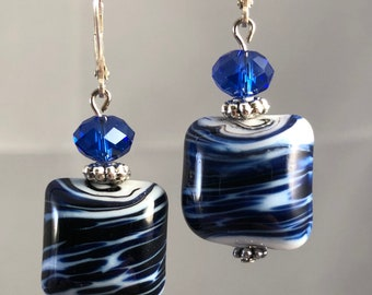Blue and White Fashion Earrings,  Silver accents, Dangle Earrings, Gifts for Women, Glass beads, Swarovski Crystal