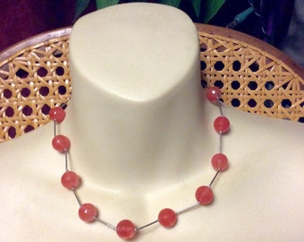 Vintage 1950's pink faceted glass sterling silver collar necklace