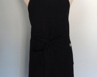 Black Linen Apron with Pocket and Towel Loop, Men's Chef Apron, Extra wide Apron, Adjustable, Gourmet Gift, Foodie Gift