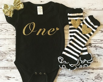 1st Birthday Black and Gold Bodysuit Cake Smash Outfit, Baby Girl Legwarmers, One Bodysuit , First Birthday Shirt, Baby Girl Bodysuit, Baby