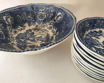 Vintage 11 PC Salad Bowl Set Anfora Hecho En Mexico 10 Blue and White Bowls Salad Bowl Set With large serving bowl Blue Willow Style & Anfora | Etsy