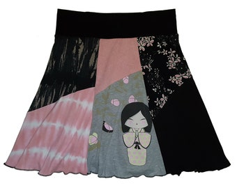 Geisha Skirt Women's Large XL Upcycled Skirt for Women Best Selling Item recycled repurposed skirts hippie wear Twinkle Skirts Twinklewear