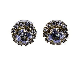 Sky Blue Swarovski Crystal Button Earrings