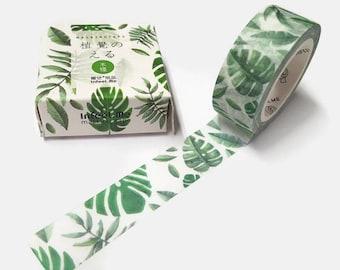Leaf Washi Tape, Decorative Tape,  Scrapbooking Tape, Japanese Masking Tape, Green Leaf Tape, Bullet Journals, Planners, Paper Tape,