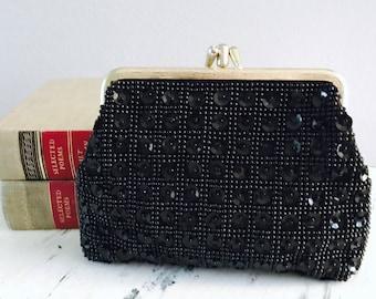 Black SEQUIN Clutch Purse Handbag, Formal Evening Bag
