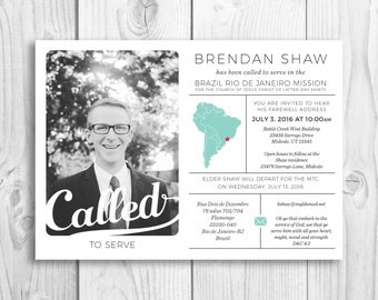 LDS Missionary Announcement, homecoming announcement, contact card, invitation