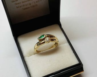 Ring Gold 585 Diamond & Emerald Vintage Stainless GR202