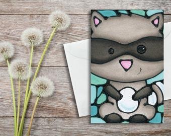 Raccoon Greeting Card - Woodland Animal Card - Baby Shower Card - Card for Her - Christmas Card - Holiday Card - Baby Card, Invitation