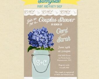 Printable Couples Wedding Shower Invitation - His & Hers - Rustic Bridal Shower Invite - Printable, Hydrangea, Burlap