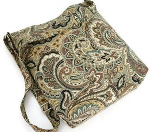 Brown paisleys shoulder purse, cross body sling bag with adjustable straps and two inside pockets. Gift for her. Autumn fall colors purse.