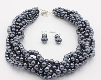 Mother's Day New Item Multistrand Gray Sea Shell Pear Beaded Necklace Set