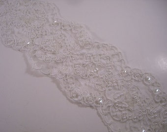 White Beaded Reeimbroidered Floral Design Galloon Lace Trim--One Yard