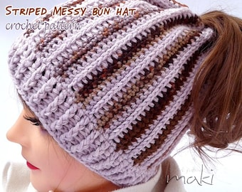 Messy bun hat crochet pattern - Crochet ponytail hat pattern - Striped hat crochet pattern! Pattern No. 190