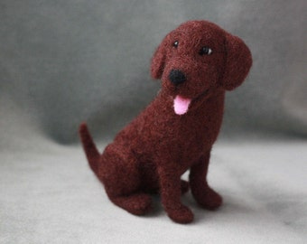 Needle Felted Chocolate Labrador, Needle Felted Choc Lab, Miniature Felted Dog Wool Sculpture, Labrador Gifts, Labrador Art