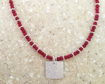 Ruby Necklace Ruby Jewelry July Birthstone Ruby Flower Necklace Flower Jewelry Wedding Necklace Lily of the Valley Necklace