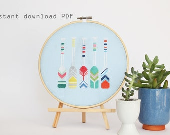 Summer Oars - Modern Counted Cross stitch pattern - Instant Download PDF
